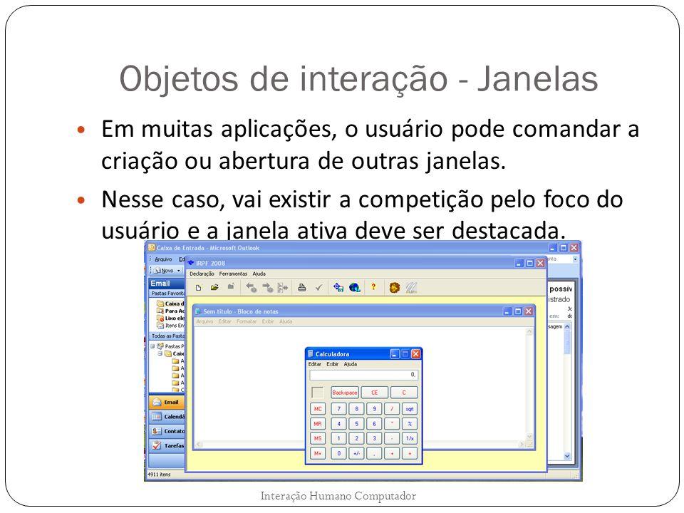 Objetos de interação - Janelas