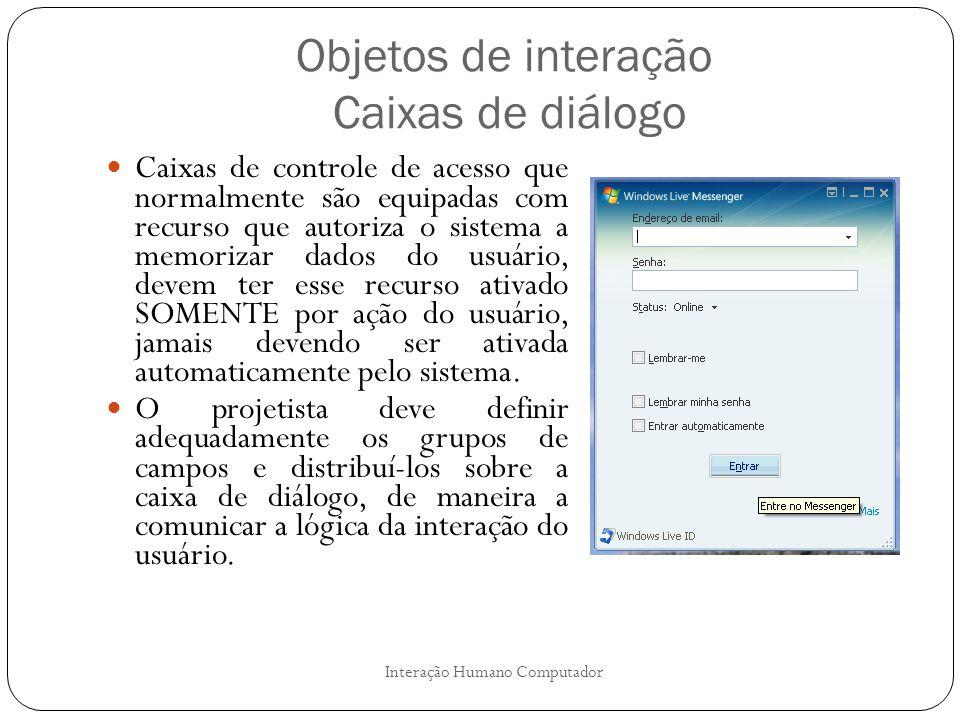 Objetos de interação Caixas de diálogo