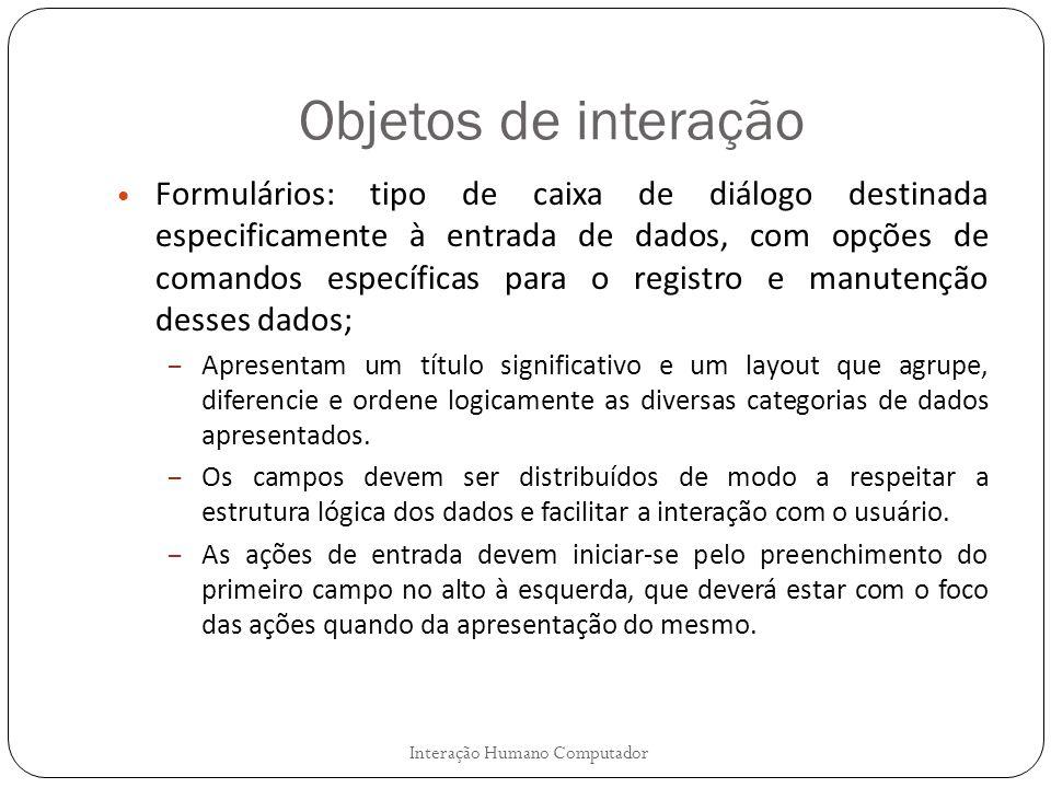 Objetos de interação