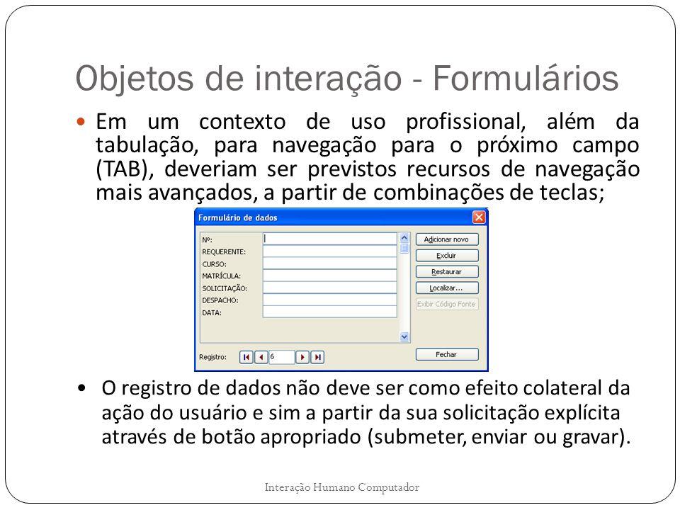 Objetos de interação - Formulários