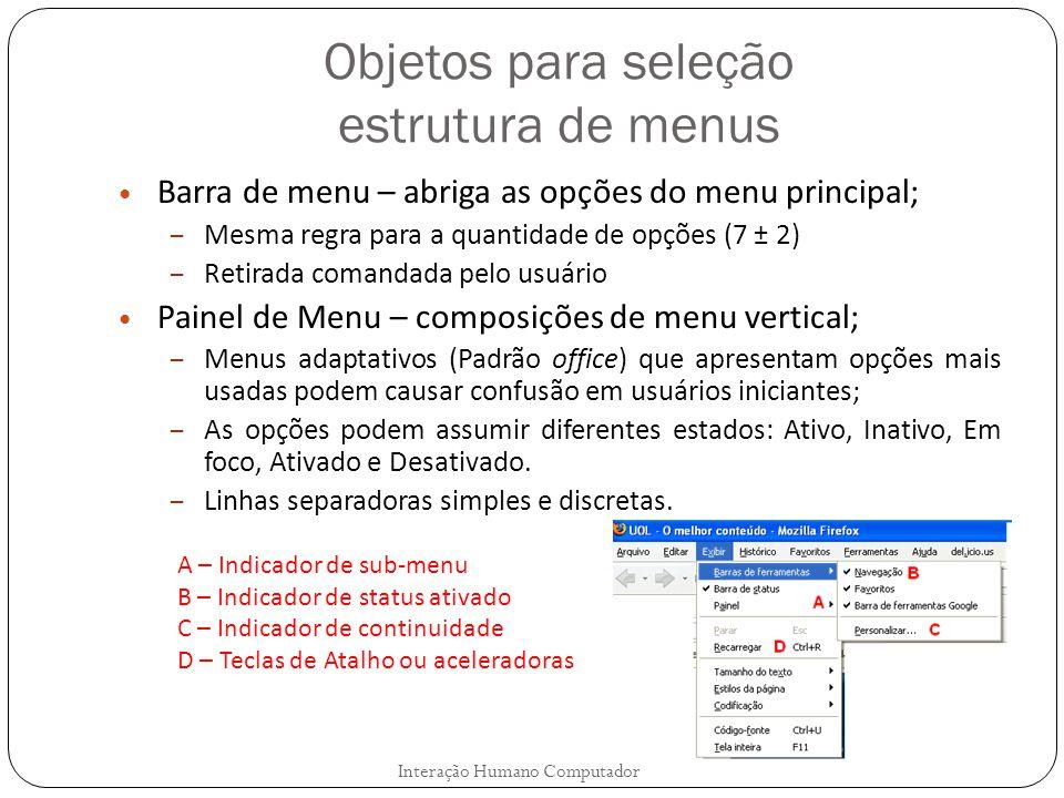 Objetos para seleção estrutura de menus