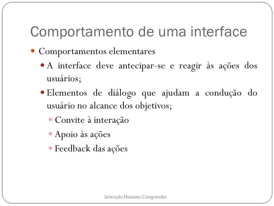 Comportamento de uma interface
