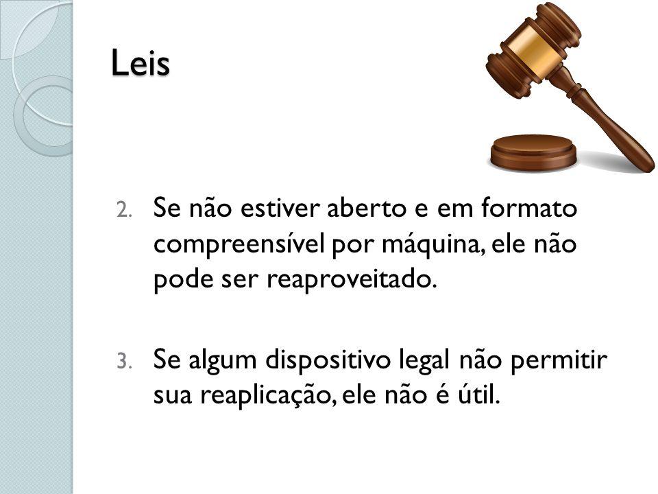 Leis Se não estiver aberto e em formato compreensível por máquina, ele não pode ser reaproveitado.