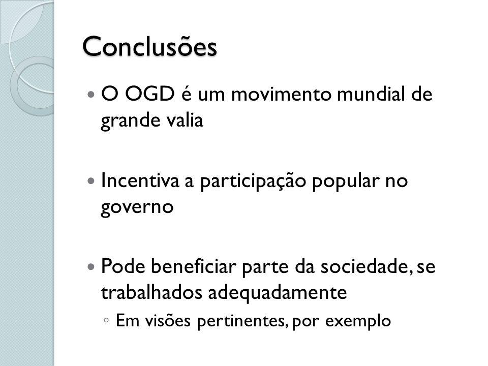 Conclusões O OGD é um movimento mundial de grande valia