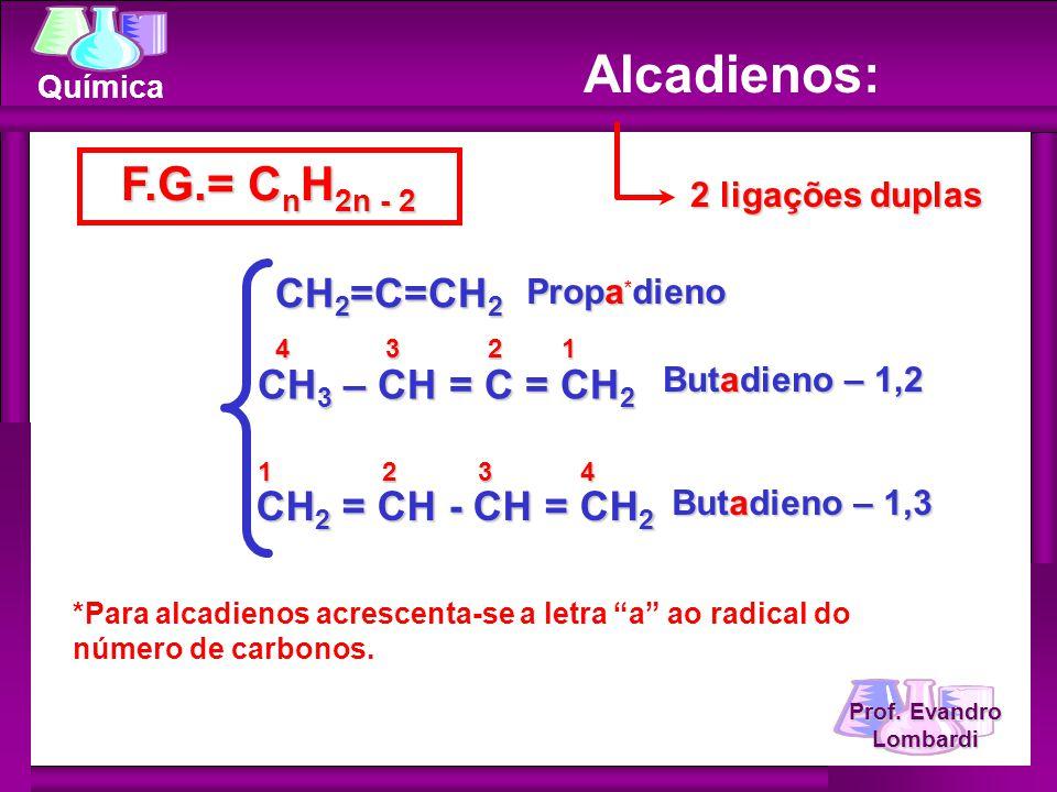 Alcadienos: F.G.= CnH2n - 2 CH2=C=CH2 CH3 – CH = C = CH2