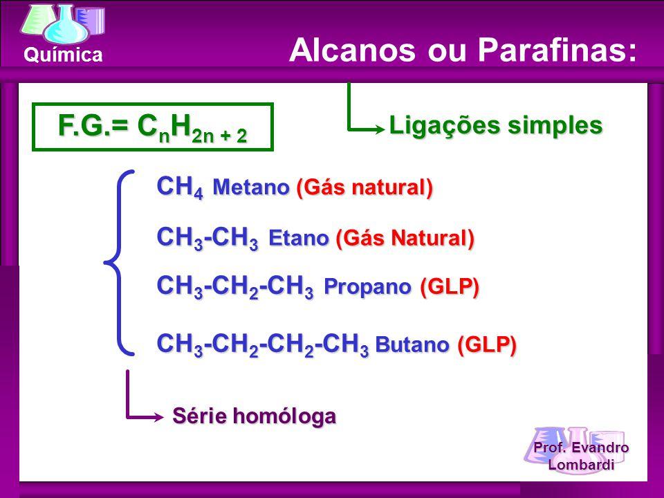 Alcanos ou Parafinas: F.G.= CnH2n + 2 Ligações simples