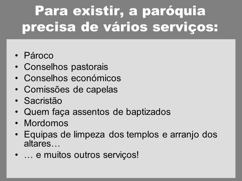 Para existir, a paróquia precisa de vários serviços: