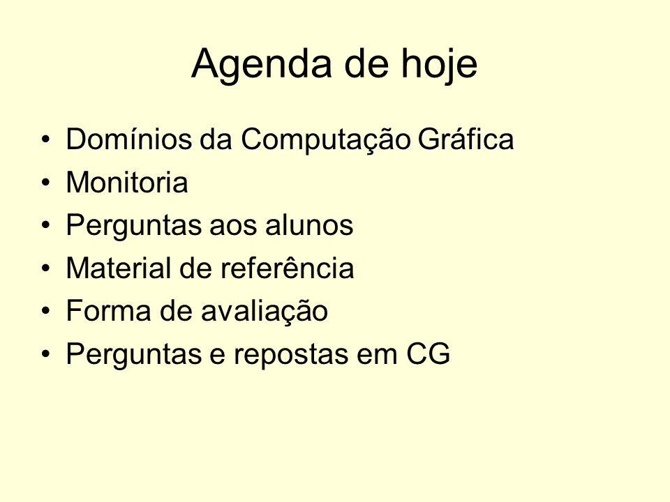 Agenda de hoje Domínios da Computação Gráfica Monitoria