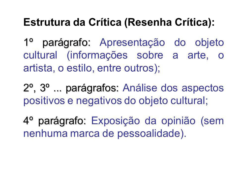 Estrutura da Crítica (Resenha Crítica):