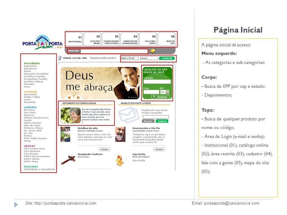 Página Inicial A página inicial dá acesso: Menu esquerdo: - As categorias e sub-categorias;