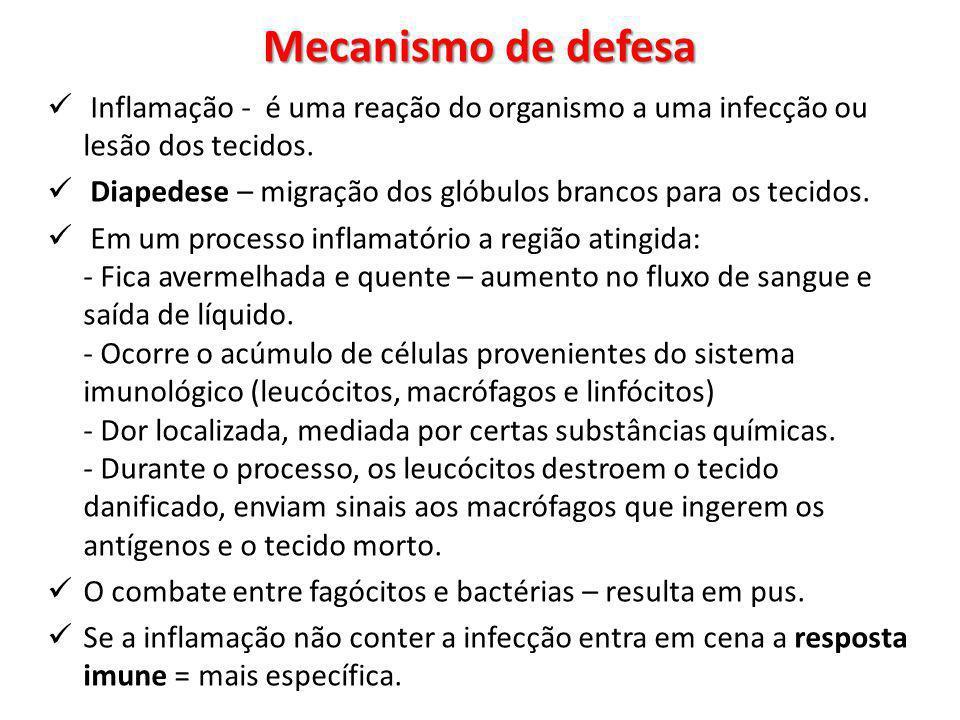 Mecanismo de defesa Inflamação - é uma reação do organismo a uma infecção ou lesão dos tecidos.