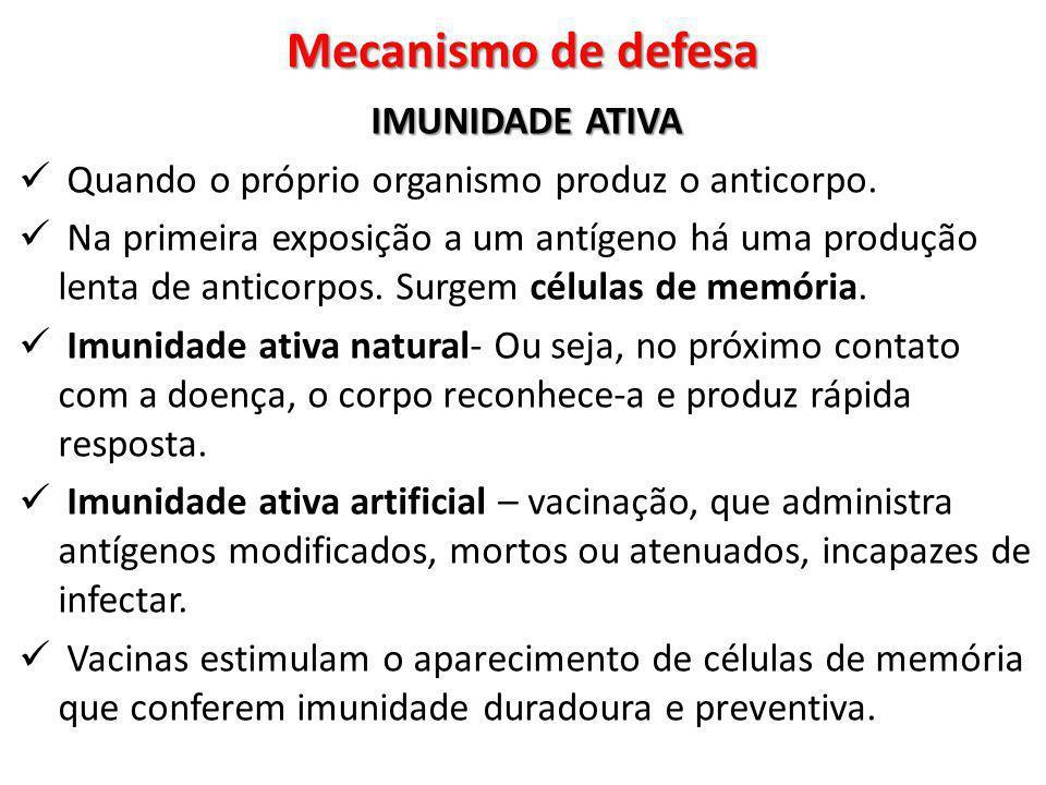 Mecanismo de defesa IMUNIDADE ATIVA