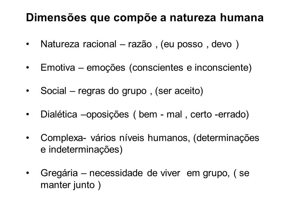 Dimensões que compõe a natureza humana