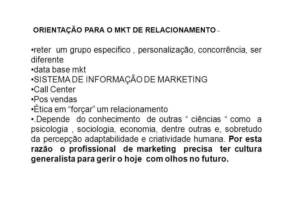 SISTEMA DE INFORMAÇÃO DE MARKETING Call Center Pos vendas