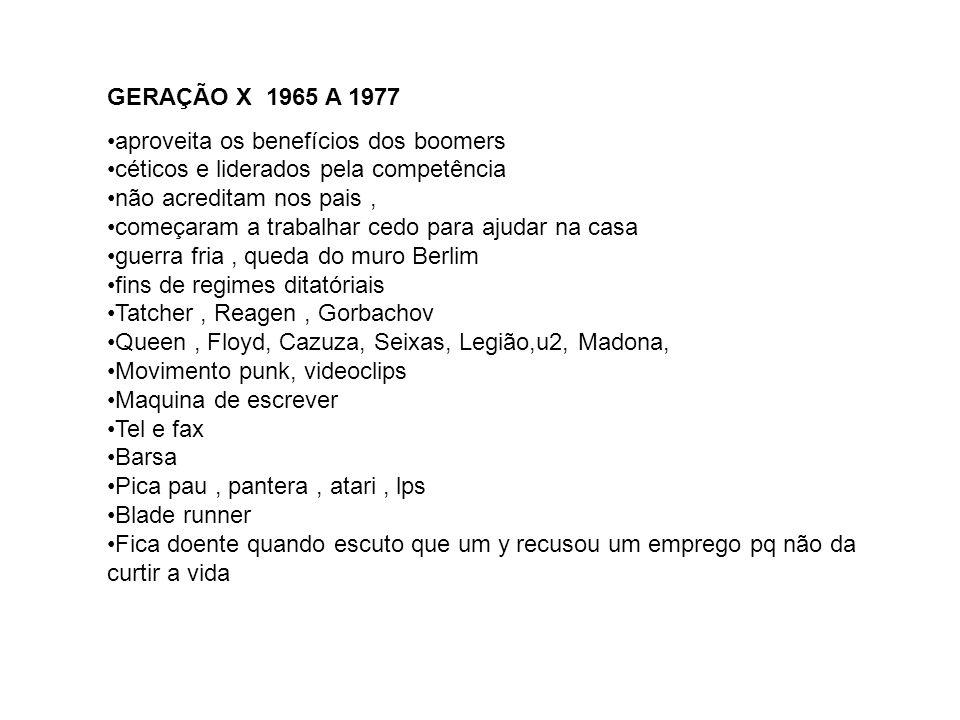 GERAÇÃO X 1965 A 1977 aproveita os benefícios dos boomers. céticos e liderados pela competência. não acreditam nos pais ,
