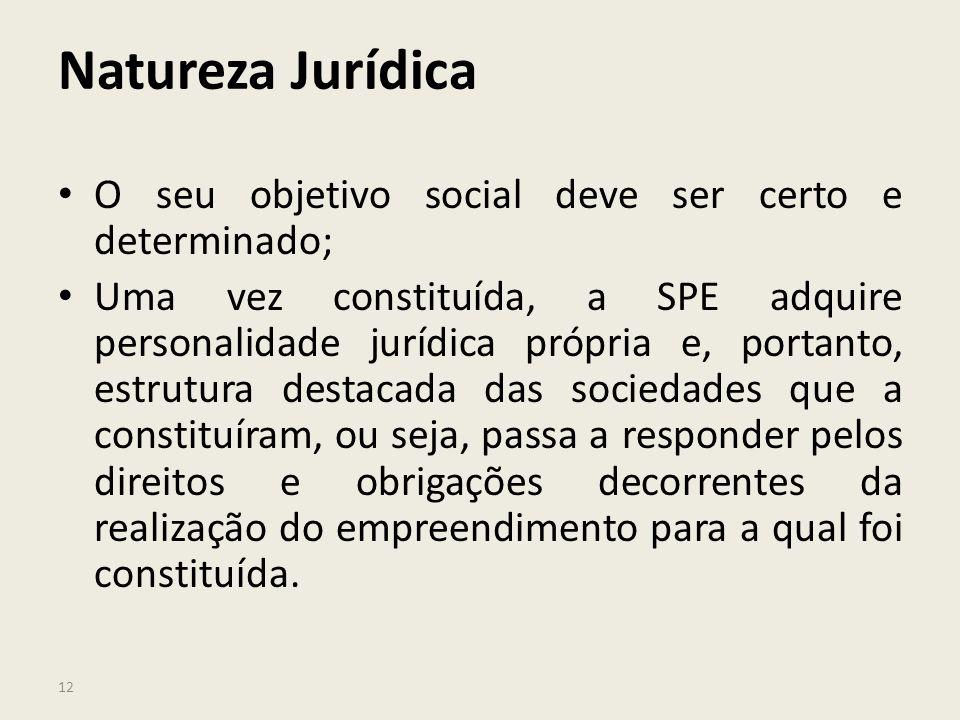 Natureza Jurídica O seu objetivo social deve ser certo e determinado;