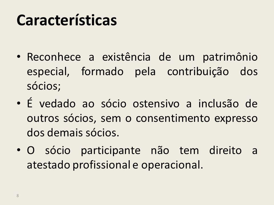 Características Reconhece a existência de um patrimônio especial, formado pela contribuição dos sócios;