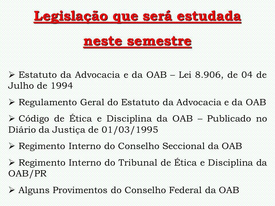 Legislação que será estudada