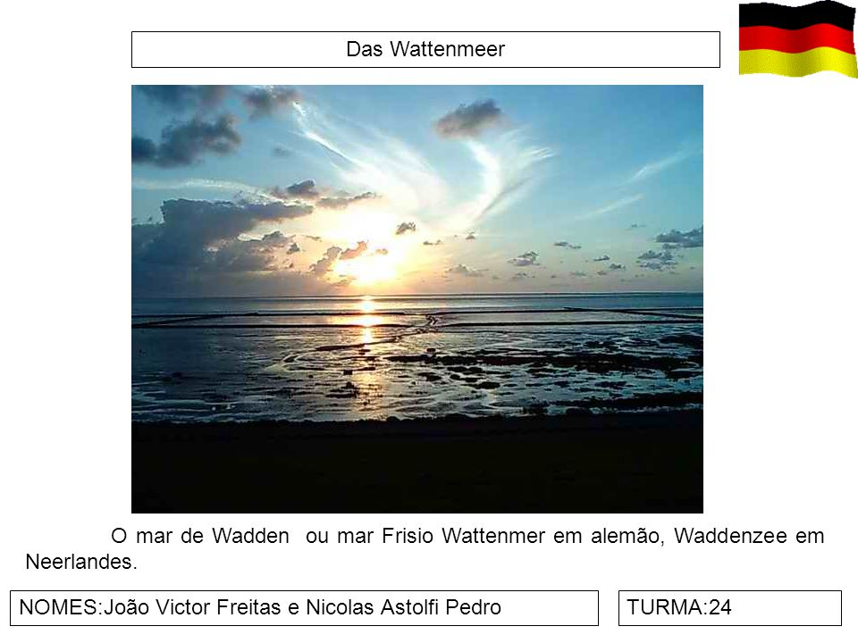 Das Wattenmeer O mar de Wadden ou mar Frisio Wattenmer em alemão, Waddenzee em Neerlandes. NOMES:João Victor Freitas e Nicolas Astolfi Pedro.