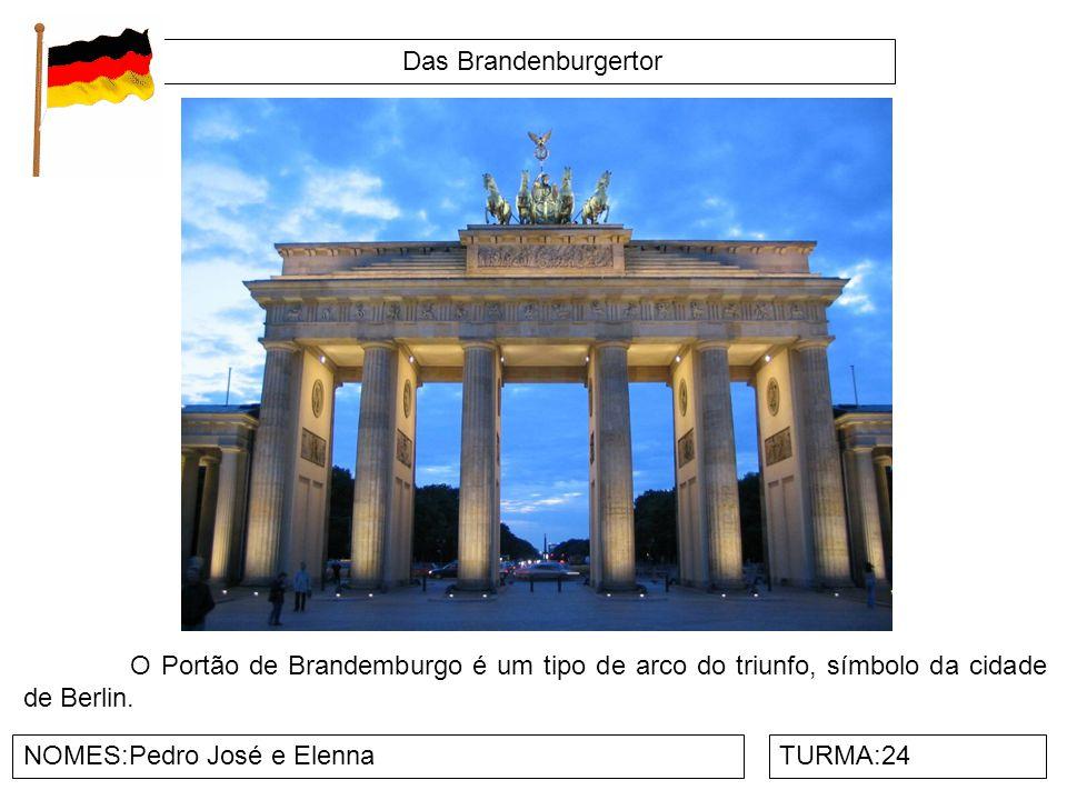 Das Brandenburgertor O Portão de Brandemburgo é um tipo de arco do triunfo, símbolo da cidade de Berlin.