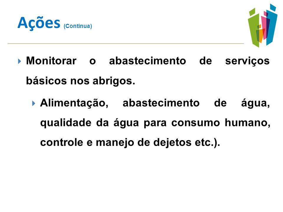 Ações (Continua) Monitorar o abastecimento de serviços básicos nos abrigos.