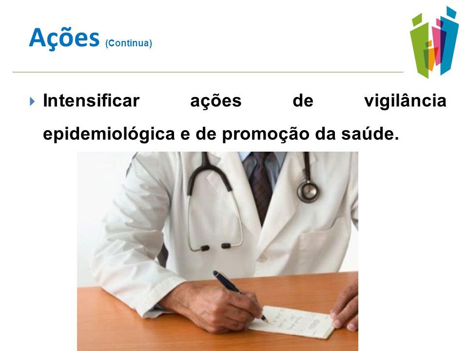 Ações (Continua) Intensificar ações de vigilância epidemiológica e de promoção da saúde.