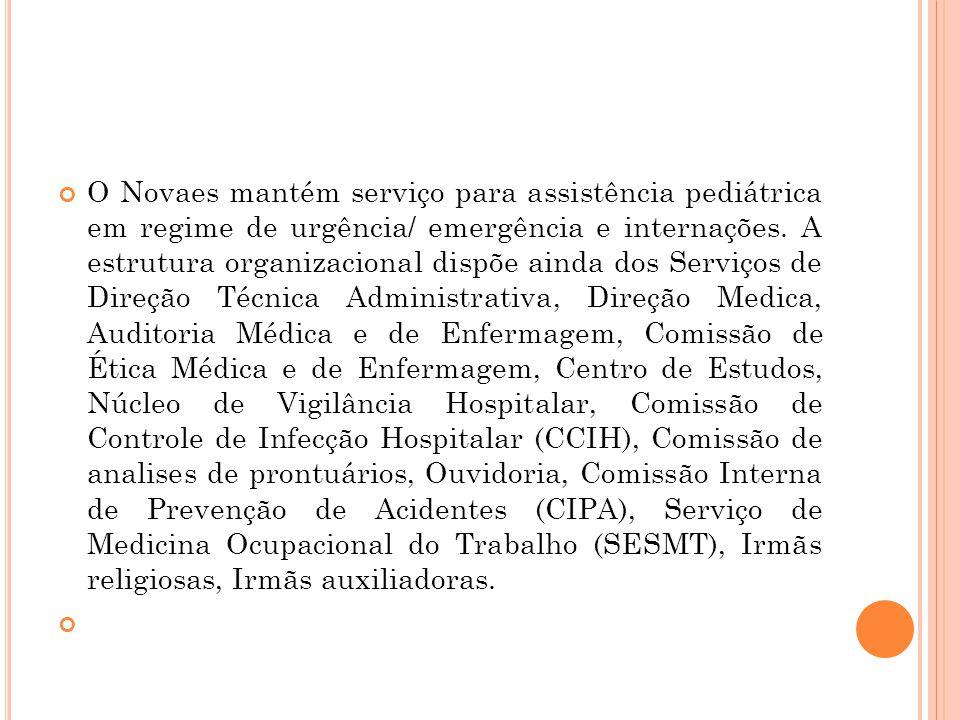 O Novaes mantém serviço para assistência pediátrica em regime de urgência/ emergência e internações.