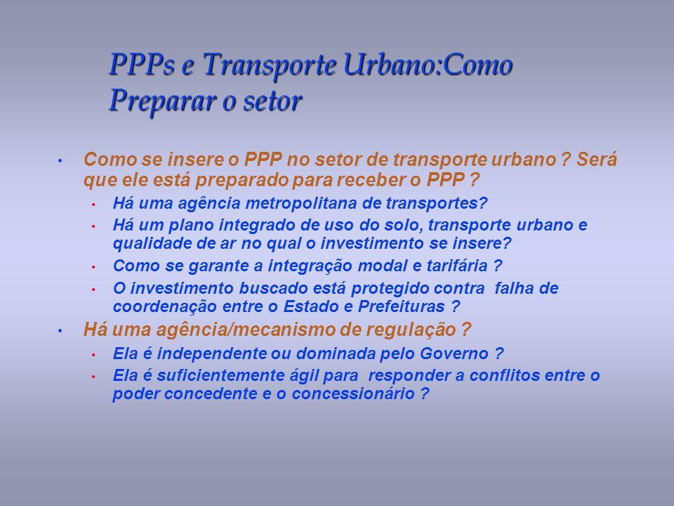 PPPs e Transporte Urbano:Como Preparar o setor