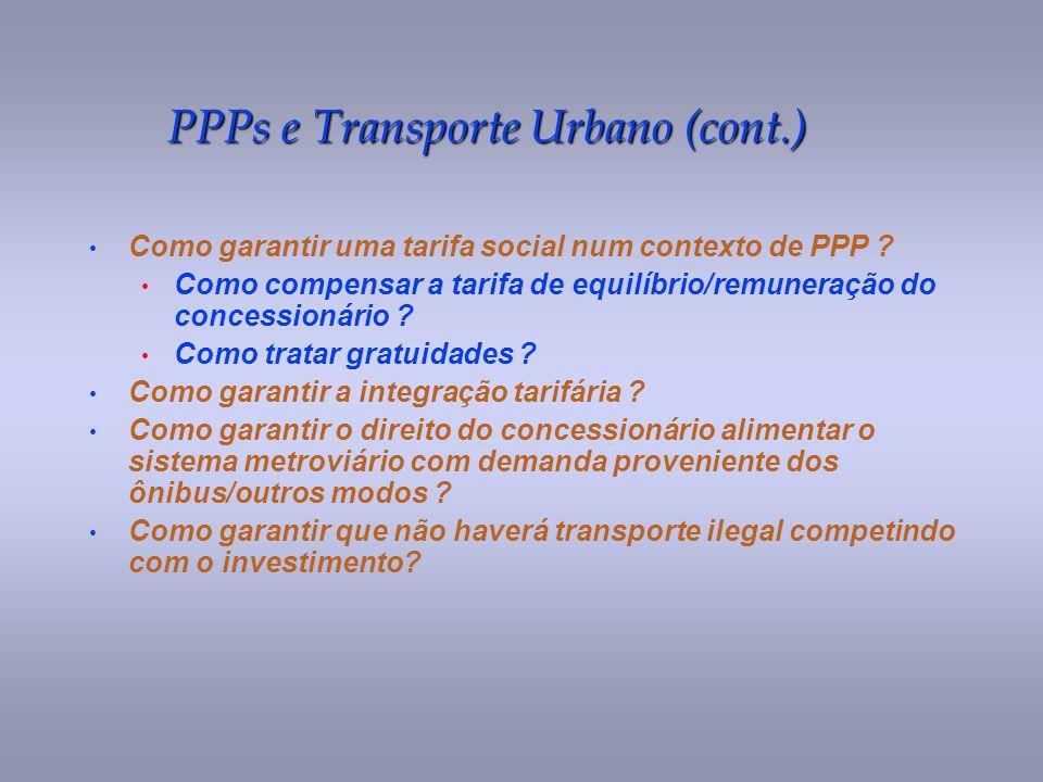 PPPs e Transporte Urbano (cont.)