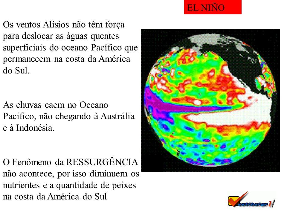 EL NIÑO Os ventos Alísios não têm força para deslocar as águas quentes superficiais do oceano Pacífico que permanecem na costa da América do Sul.
