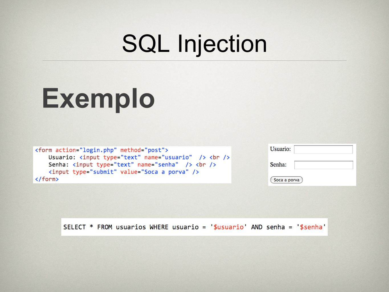 SQL Injection Exemplo