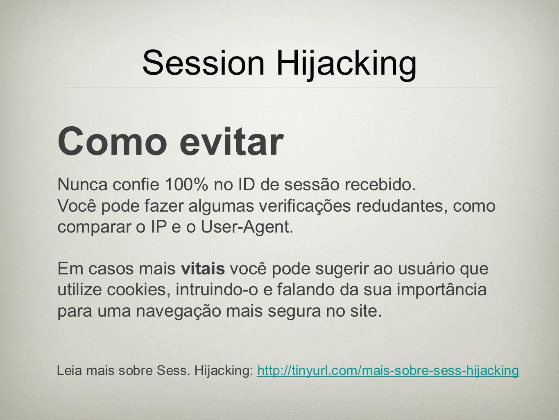 Como evitar Session Hijacking
