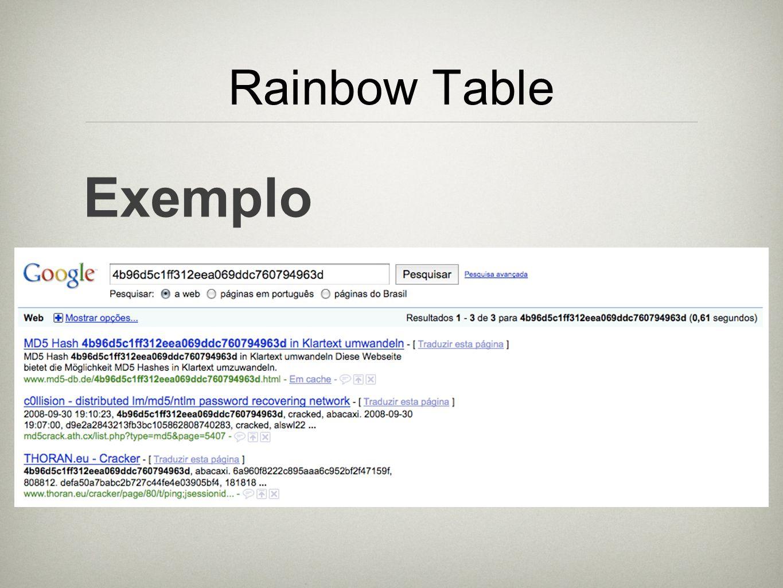 Rainbow Table Exemplo