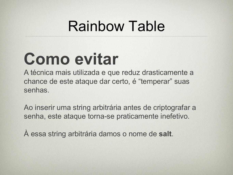 Como evitar Rainbow Table
