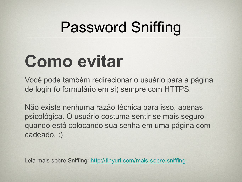 Como evitar Password Sniffing