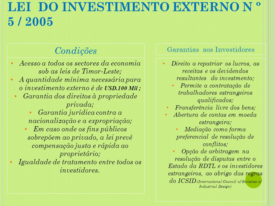 LEI DO INVESTIMENTO EXTERNO N º 5 / 2005