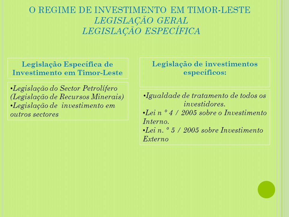 O REGIME DE INVESTIMENTO EM TIMOR-LESTE LEGISLAÇÃO GERAL LEGISLAÇÃO ESPECÍFICA