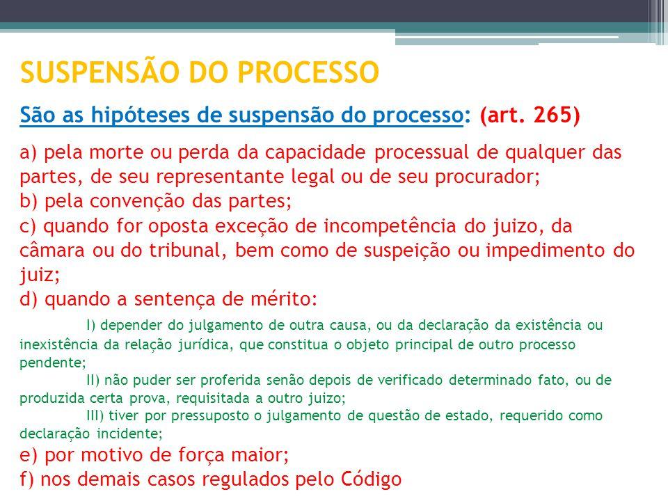 SUSPENSÃO DO PROCESSO São as hipóteses de suspensão do processo: (art
