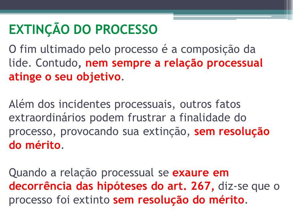 EXTINÇÃO DO PROCESSO O fim ultimado pelo processo é a composição da lide.