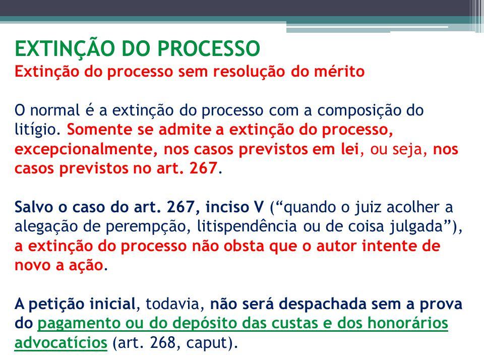 EXTINÇÃO DO PROCESSO Extinção do processo sem resolução do mérito O normal é a extinção do processo com a composição do litígio.