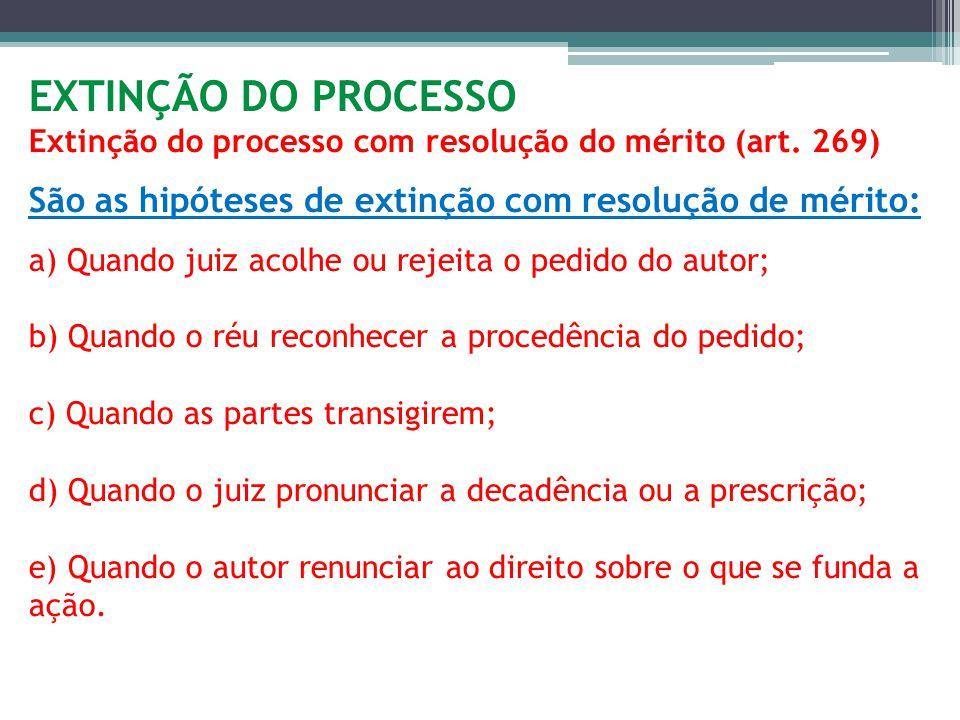 EXTINÇÃO DO PROCESSO Extinção do processo com resolução do mérito (art