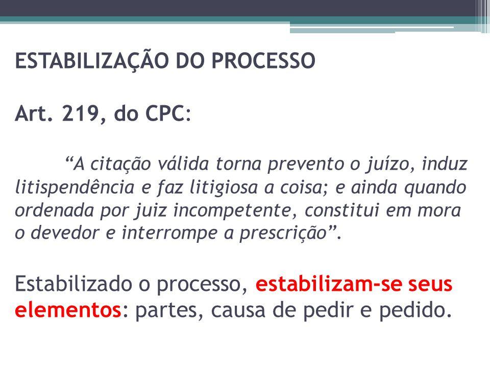 ESTABILIZAÇÃO DO PROCESSO Art. 219, do CPC: