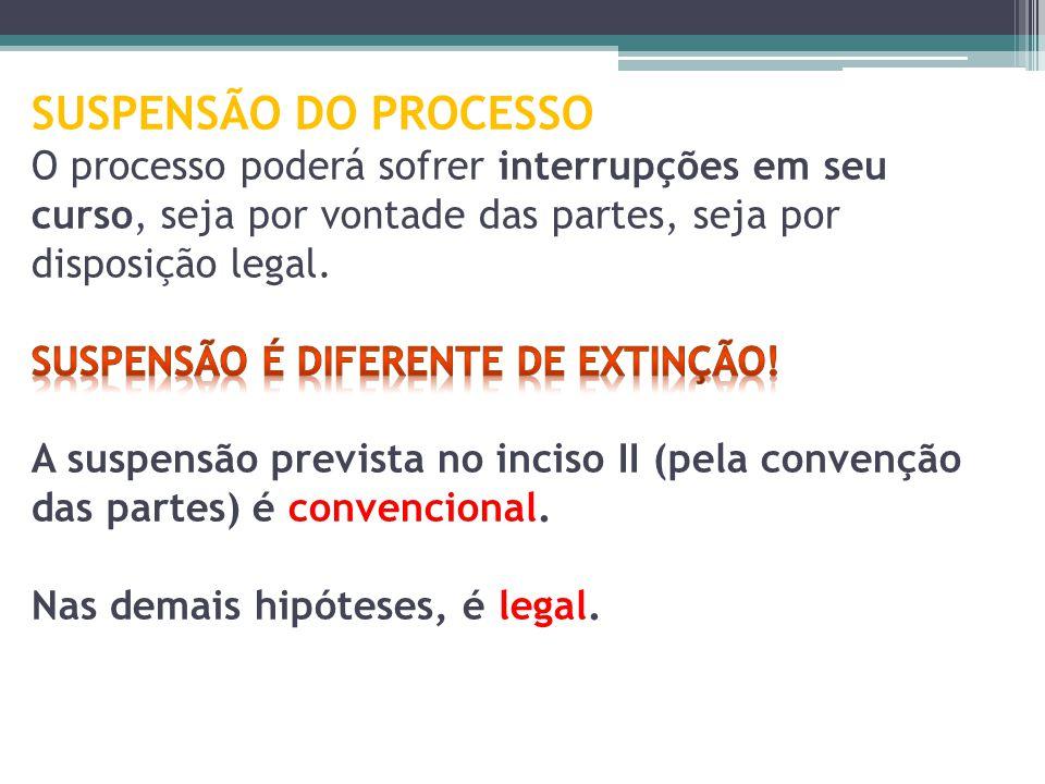 SUSPENSÃO DO PROCESSO O processo poderá sofrer interrupções em seu curso, seja por vontade das partes, seja por disposição legal.
