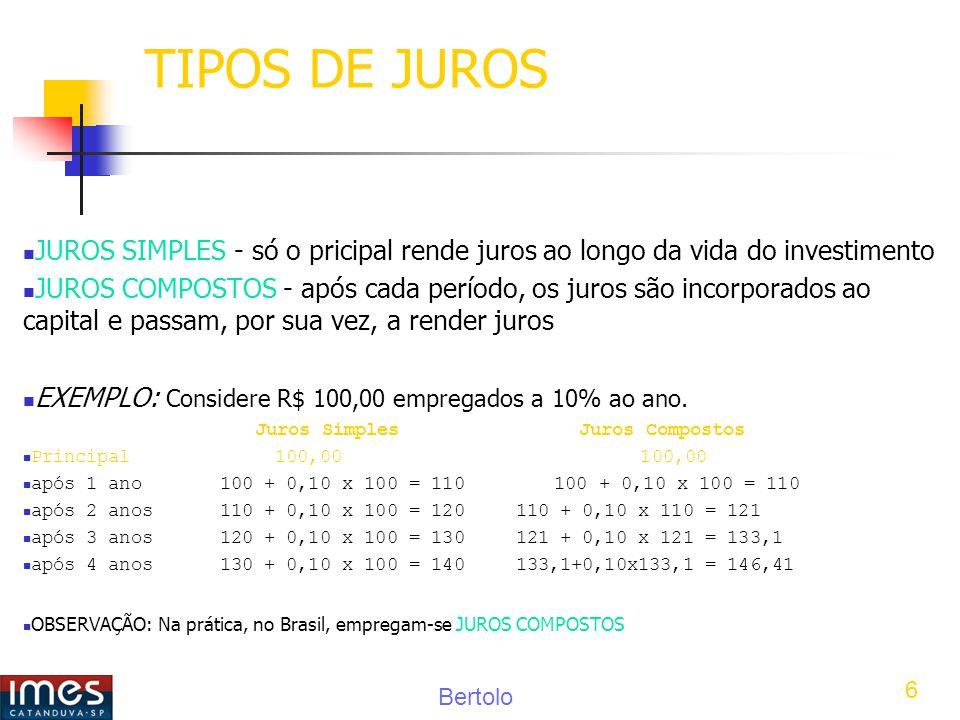 TIPOS DE JUROS JUROS SIMPLES - só o pricipal rende juros ao longo da vida do investimento.
