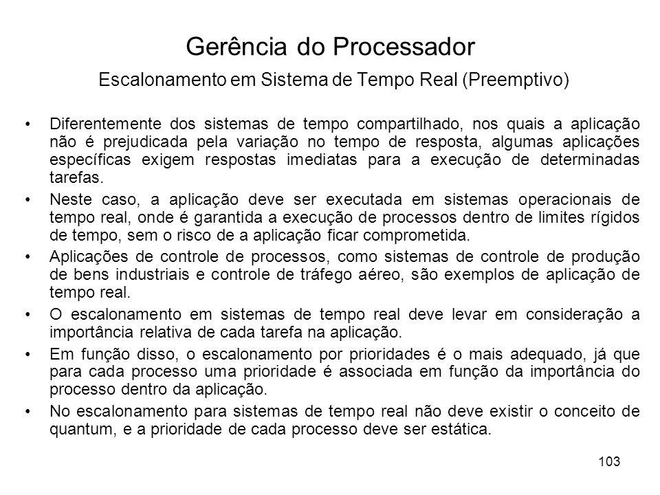 Gerência do Processador Escalonamento em Sistema de Tempo Real (Preemptivo)