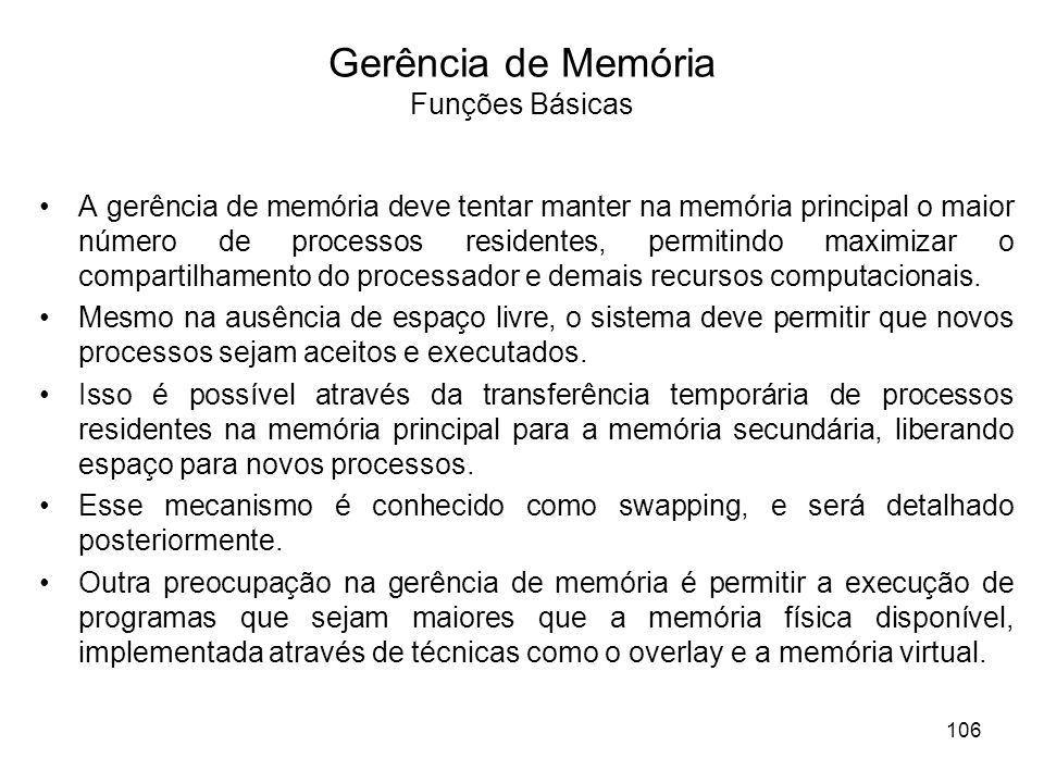Gerência de Memória Funções Básicas