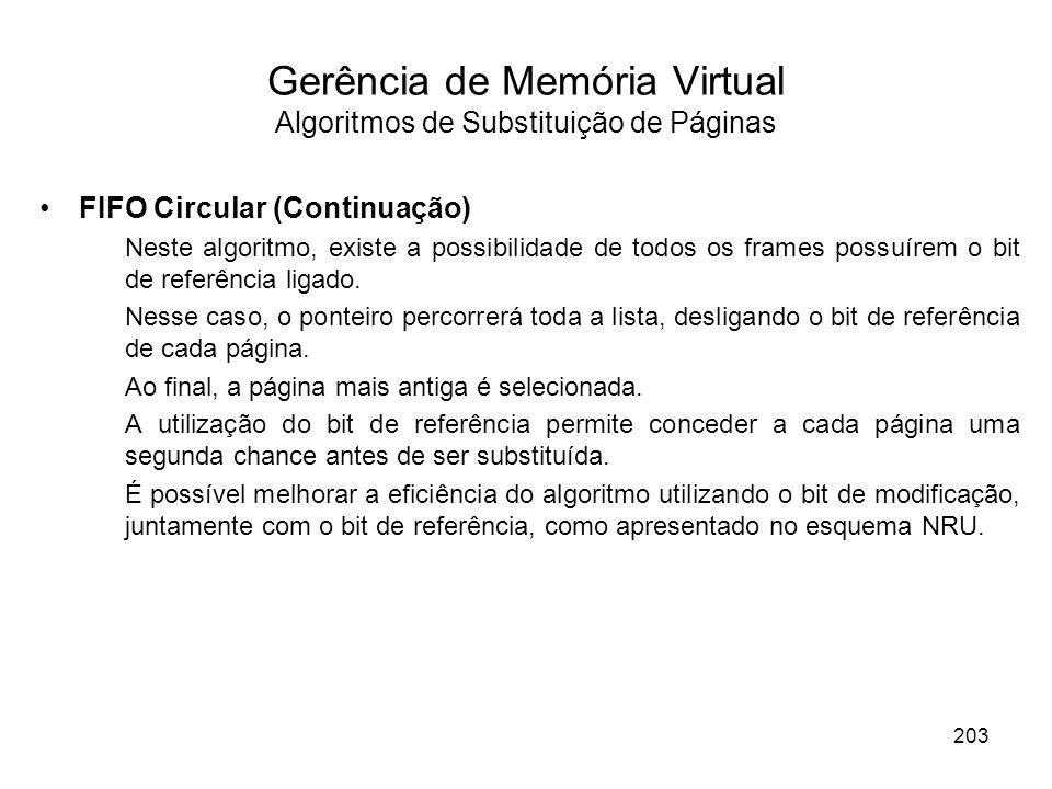 Gerência de Memória Virtual Algoritmos de Substituição de Páginas