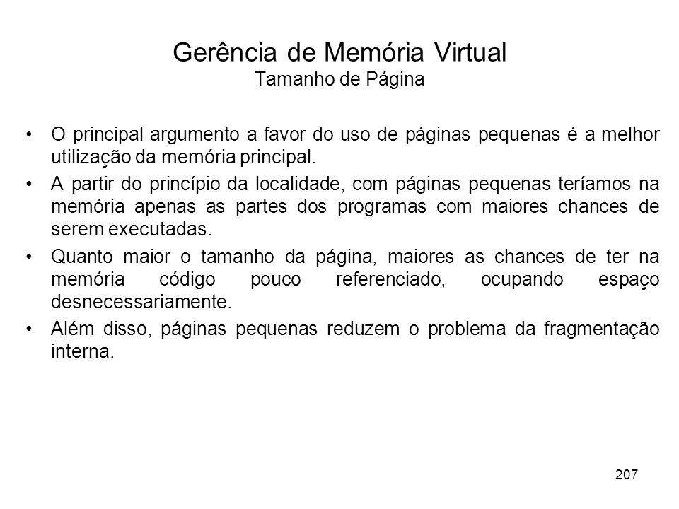 Gerência de Memória Virtual Tamanho de Página