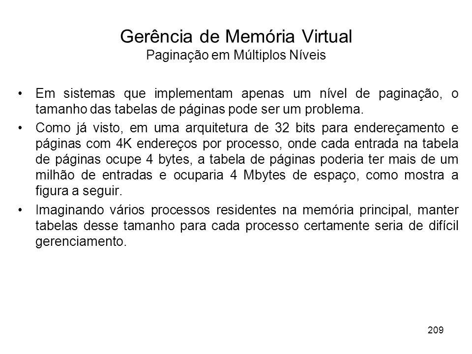 Gerência de Memória Virtual Paginação em Múltiplos Níveis