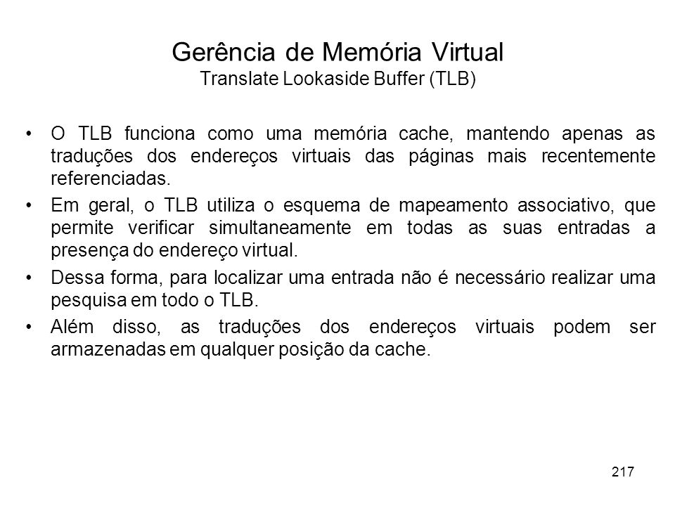 Gerência de Memória Virtual Translate Lookaside Buffer (TLB)